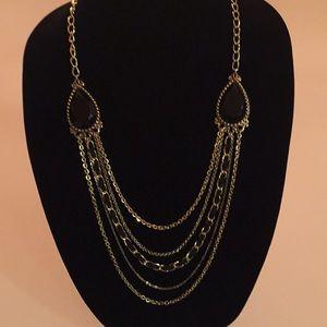 Guess Multi Strand Black & Goldtone Necklace